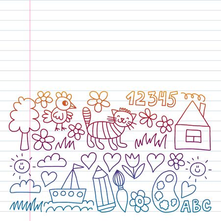 Children garden elements pattern. Drawing on exercise notebook in colorful gradient style