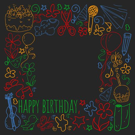 Set of cute creative card templates with birthday theme design. Hand Drawn card for holiday, party invitations. Stok Fotoğraf - 127105401