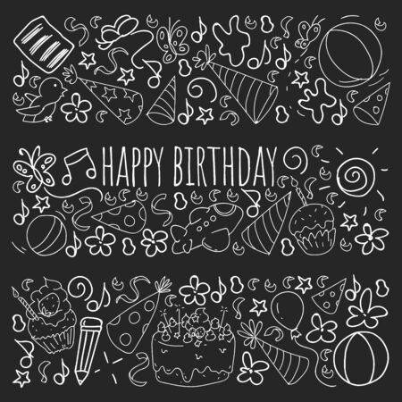 Set of cute creative card templates with birthday theme design. Hand Drawn card for holiday, party invitations.