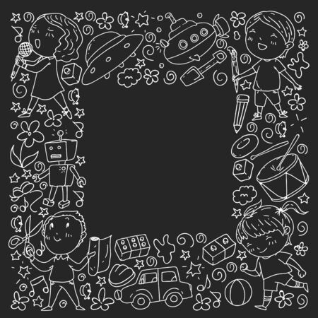 Painted by hand style seamless pattern on the theme of childhood. Vector illustration for children design. Monochrome chalk drawing on blackboard