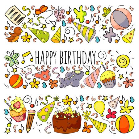 Vector set of cute creative illustration templates with birthday theme design. Hand Drawn for holiday, party invitations