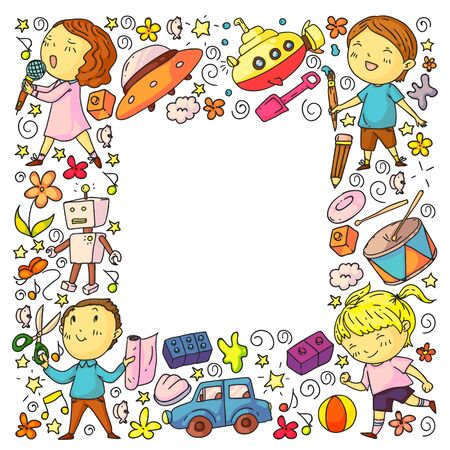 Painted by hand style seamless pattern on the theme of childhood. Vector illustration for children design Çizim