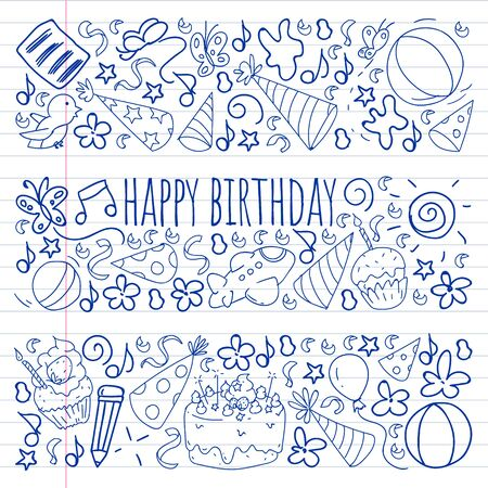 Drawing by pen on exercise notebook. Vector set of cute creative illustration templates with birthday theme design. Hand Drawn for holiday, party invitations