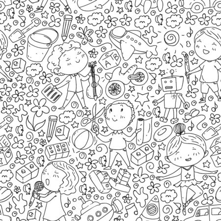Painted by hand style pattern on the theme of childhood. Vector illustration for children design Ilustração