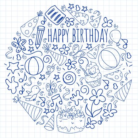 Vector set of cute creative illustration templates with birthday theme design. Hand Drawn for holiday, party invitations. Drawing on squared notebook