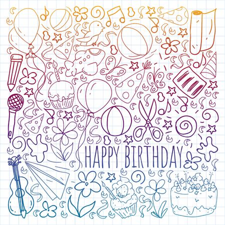 Vector set of cute creative illustration templates with birthday theme design. Hand Drawn for holiday, party invitations. Drawing on squared notebook in gradient style