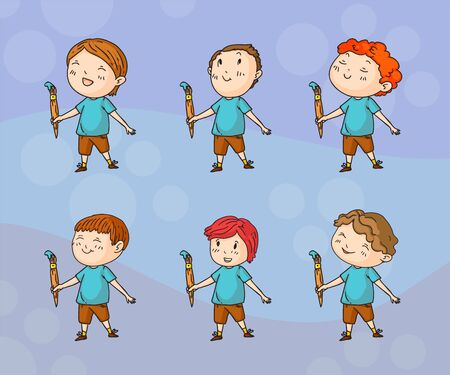 Vector set of playing creative children in doodle style, kids drawing on soft backround