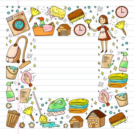 Cleaning services company vector pattern. Drawing on exercise notebook