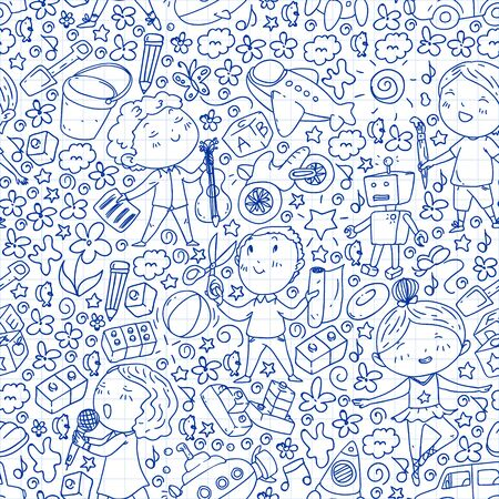 Painted by hand style seamless pattern on the theme of childhood. Vector illustration for children design. Drawing on squared notebook