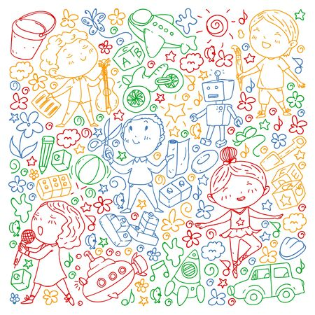 Painted by hand style pattern on the theme of childhood. Vector illustration for children design. Drawing on exercise notebook in colorful style Ilustração