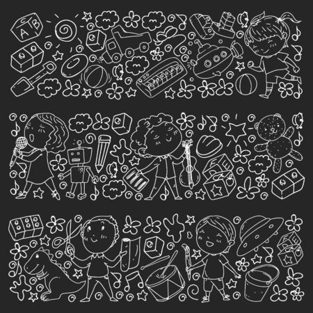 Painted by hand style seamless pattern on the theme of childhood. Vector illustration for children design. Chalk drawing on a school blackboard