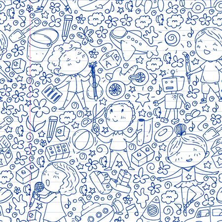 Painted by hand style pattern on the theme of childhood. Vector illustration for children design. Drawing on exercise notebook Ilustração