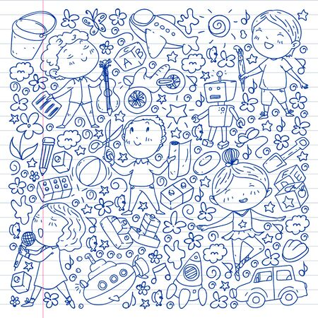 Painted by hand style pattern on the theme of childhood. Vector illustration for children design. Drawing on exercise notebook Çizim