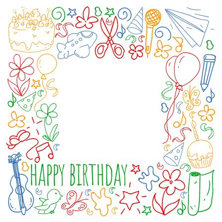 Vector set of cute creative illustration templates with birthday theme design. Hand Drawn for holiday, party invitations Stok Fotoğraf - 127915555