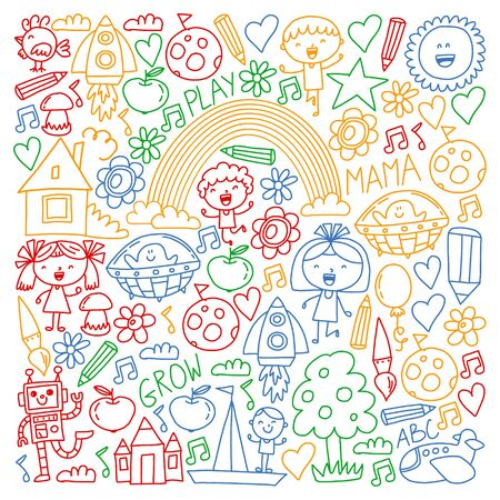 Time to adventure Imagination Creativity Small children play Nursery Kindergarten Preschool School Kids drawing doodle icons Pattern Play, study learn with happy boys and girls Lets explore space