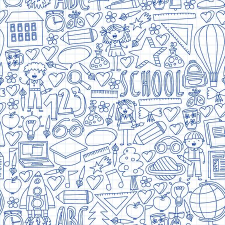 Vector set of Back to School icons in doodle style. Painted, colorful, pictures on a piece of paper on white background. Drawing by pen on squared notebook Stok Fotoğraf - 128112300