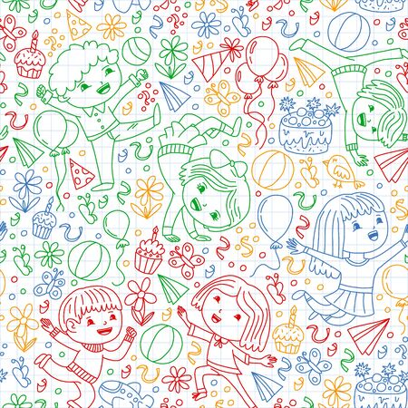 Vector illustration in cartoon style, active company of playful preschool kids jumping, at a party, birthday. Drawing by colorful pen on squared notebook
