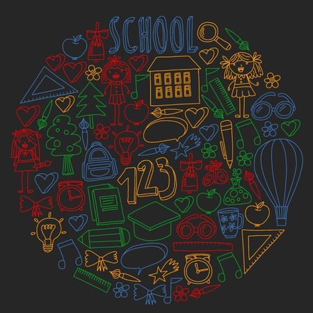 Vector set of back to school icons in doodle style. Drawing with colored chalk on a school blackboard Ilustração