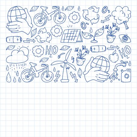 Vector logo, design and badge in trendy drawing style - zero waste concept, recycle and reuse, reduce - ecological lifestyle and sustainable developments icons. pen drawing on checkered paper.