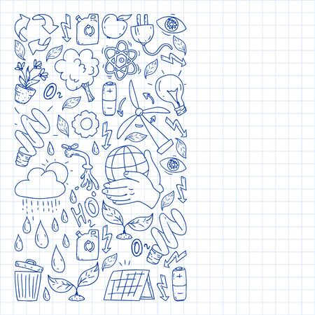 Vector design and badge in trendy drawing style - zero waste concept, recycle and reuse, reduce - ecological lifestyle and sustainable developments icons. pen drawing on checkered paper.