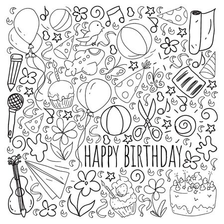 Vector set of cute creative illustration templates with birthday theme design. Hand Drawn for holiday, party invitations.