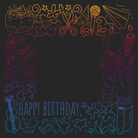 Vector set of cute creative illustration templates with birthday theme design. Hand Drawn for holiday, party invitations. Drawing on blackboard in gradient style. Çizim