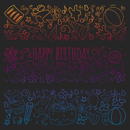 Wektor zestaw ładny kreatywnych szablonów ilustracji z projektem motywu urodzinowego. Ręcznie rysowane na wakacje, zaproszenia na imprezy. Rysowanie na tablicy w stylu gradientu.