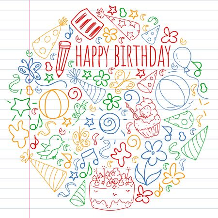 Vector set of cute creative illustration templates with birthday theme design. Hand Drawn for holiday, party invitations. Drawing on exercise notebook in colorful style.