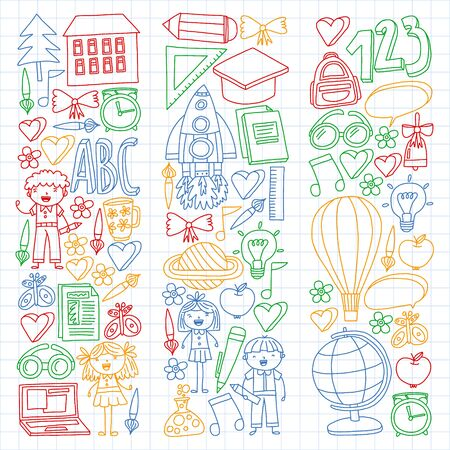 cVector set of Back to School icons in doodle style. Painted, colorful, pictures on a piece of paper on white background. Drawing by colorful pen on squared notebook