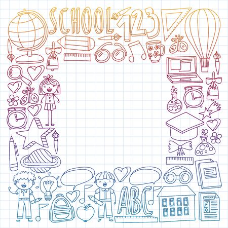Seamless vector set of Back to School icons in doodle style. Painted, colorful, pictures on a piece of paper on white background. Drawing by pen on squared notebook. Çizim