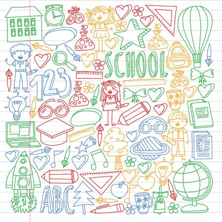 Vector set of Back to School icons in doodle style. Painted, colorful, pictures on a piece of paper on white background. Drawing by pen on exercise notebook Ilustração