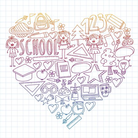 Seamless vector set of Back to School icons in doodle style. Painted, colorful, pictures on a piece of paper on white background. Drawing by pen on squared notebook. Ilustração
