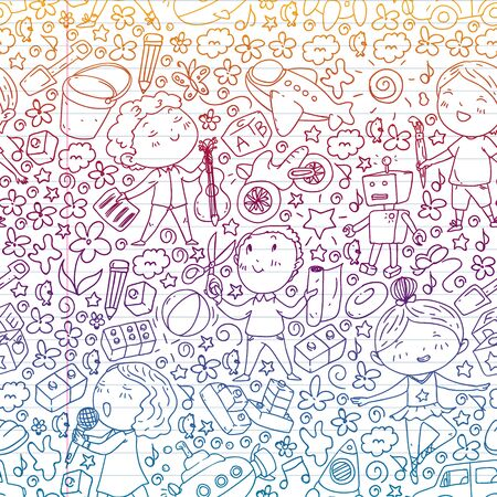 Painted by hand style seamless pattern on the theme of childhood. Vector illustration for children design. Drawing on exercise notebook in gradient style.