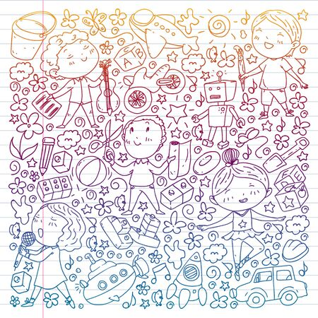 Painted by hand style pattern on the theme of childhood. Vector illustration for children design. Drawing on exercise notebook in gradient style