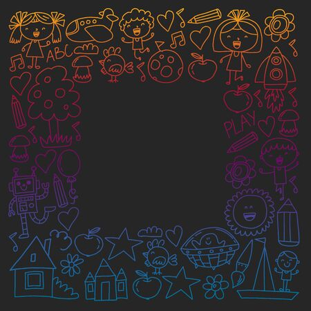 Painted by hand style pattern on the theme of childhood. Vector illustration for children design. Drawing with colored chalk on a school blackboard.