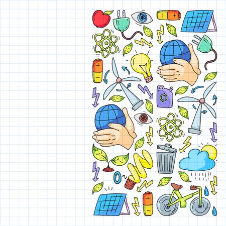 Vector  design and badge in trendy drawing style - zero waste concept, recycle and reuse, reduce - ecological lifestyle and sustainable developments icons. Drawing on squared notebook. Çizim