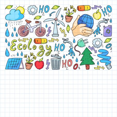 Vector design and badge in trendy drawing style - zero waste concept, recycle and reuse, reduce - ecological lifestyle and sustainable developments icons. Drawing on squared notebook.