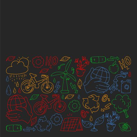 Vector design and badge in trendy drawing style - zero waste concept, recycle and reuse, reduce - ecological lifestyle and sustainable developments icons, colorful on black background.