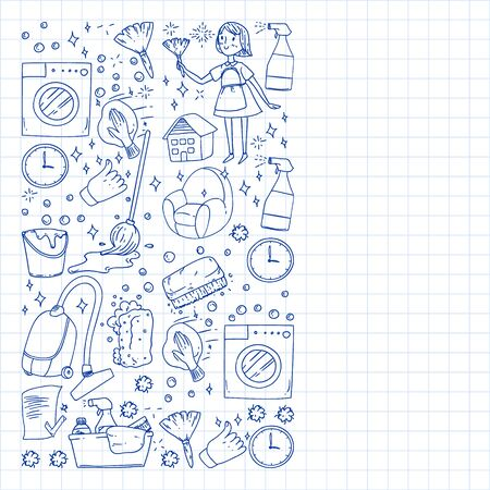 cleaning services company vector monochrome pattern on background, drawing blue pen . Çizim