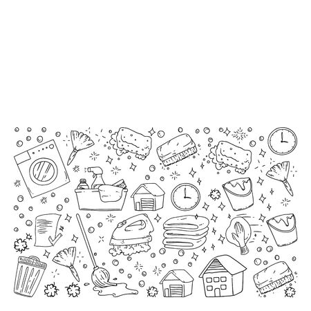 cleaning services company vector monochrome pattern on white background, drawing.