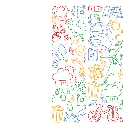 Vector  design and badge in trendy drawing style - zero waste concept, recycle and reuse, reduce - ecological lifestyle and sustainable developments icons. Çizim