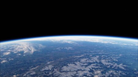 Near, low earth orbit blue planet.