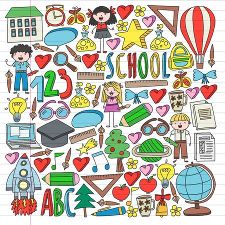Seamless vector set of Back to School icons in doodle style. Painted, colorful, pictures on a piece of paper on white background