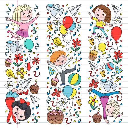 Vector illustration in cartoon style, active company of playful preschool kids jumping, at a party, birthday Çizim