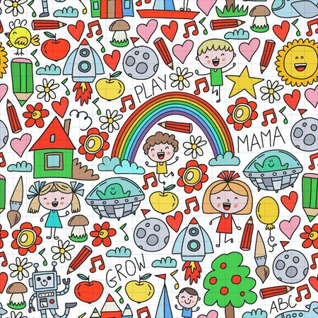 Time to adventure Imagination Creativity Small children play Nursery Kindergarten Preschool School Kids drawing doodle icons Pattern Play, study learn with happy boys and girls Let's explore space Stockfoto - 129243697