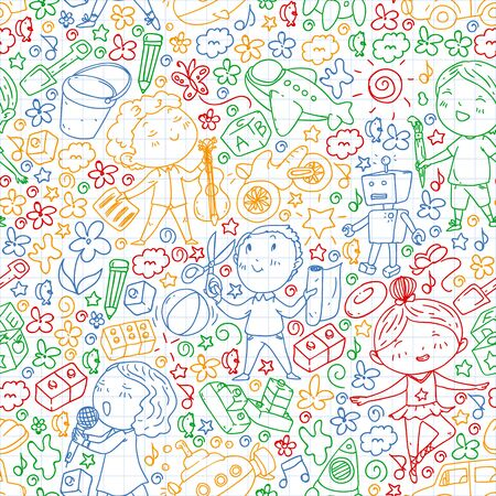 Painted by hand style pattern on the theme of childhood. Vector illustration for children design. Drawing by colorful pen on squared notebook