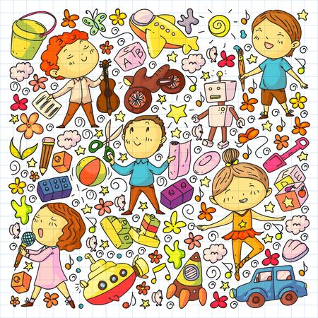 Painted by hand style pattern on the theme of childhood. Vector illustration for children design Çizim