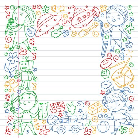 Painted by hand style pattern on the theme of childhood. Vector illustration for children design. Colorful drawing by pen on exercise notebook. Çizim