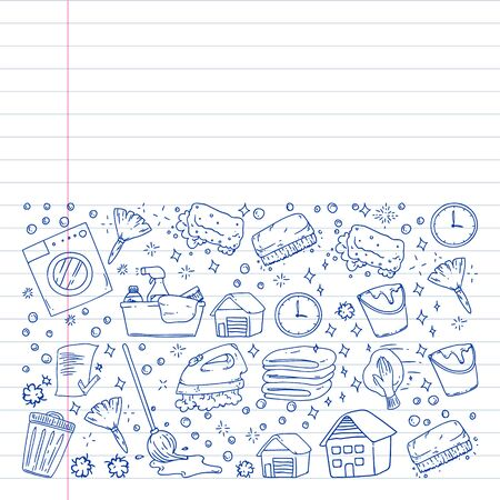 cleaning services company vector monochrome pattern on white background, drawing pen, notebooks lined Иллюстрация