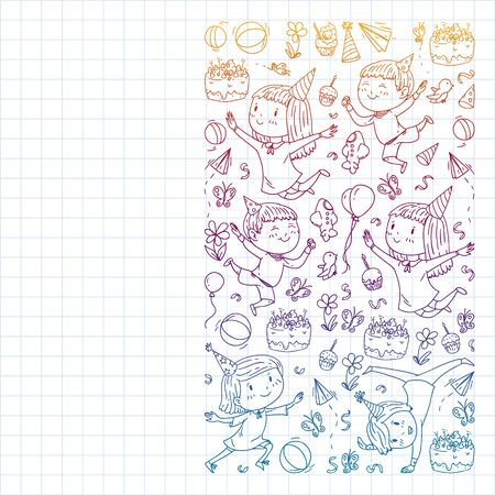 Vector pattern with kindergarten, toy children. Happy children illustration. Gradient drawing on a notebook in a Squared notebook Çizim